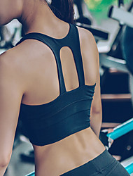 cheap -Women's Sports Bra Top Sports Bra Yoga Top Cut Out Zumba Yoga Running High Impact Push Up Freedom Padded Medium Support Black White Solid Colored / High Elasticity