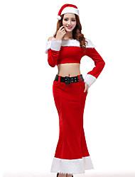 cheap -Cosplay Costume Santa Clothes Adults' Women's Christmas Christmas New Year Festival / Holiday Pleuche Red Women's Carnival Costumes Holiday / Top / Skirt / Hat / Waist Belt / Top