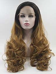 cheap -Synthetic Lace Front Wig Curly Middle Part Lace Front Wig Black / Blonde Long Black / Gold Synthetic Hair 18-26 inch Women's Adjustable Heat Resistant Elastic Black / Blonde