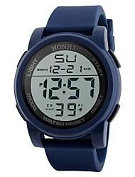 Недорогие -Муж. Спортивные часы электронные часы Японский Цифровой Стеганная ПУ кожа Черный / Синий / Зеленый 30 m Защита от влаги Календарь Секундомер Цифровой Блестящие Мода - Черный Зеленый Синий / Два года