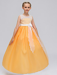 cheap -A-Line Maxi Wedding / Party / Pageant Flower Girl Dresses - Chiffon / Lace Sleeveless Jewel Neck with Petal