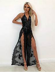 cheap -Women's Party Homecoming Basic Maxi Slim Sheath Dress - Floral High Waist Deep V Black White Red S M L XL