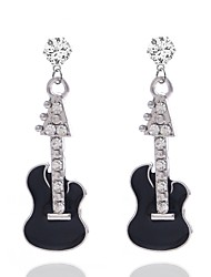 cheap -Women's Drop Earrings 3D Music Guitar Ladies Stylish Rhinestone Earrings Jewelry Silver For Daily 1 Pair