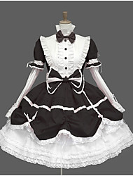 cheap -Sweet Lolita Elegant Dress Women's Girls' Female Lace Cotton Japanese Cosplay Costumes Pink / Blue / White Vintage Lace Puff Sleeve Long Sleeve Knee Length