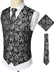 cheap -Men's Party / Work / Club Business / Vintage Spring / Fall / Winter Regular Vest, Paisley V Neck Sleeveless Cotton / Spandex Print Silver / Business Casual / Slim