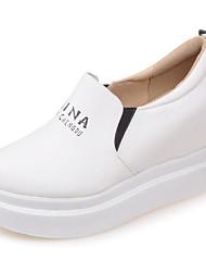 cheap -Women's Loafers & Slip-Ons Hidden Heel PU Spring Black / White / Beige / Daily