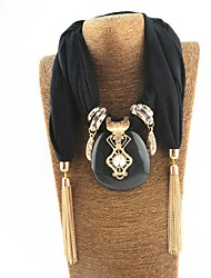 cheap -Women's Scarf Necklace Long Statement Ladies Tassel Sweet Poly / Cotton Gray White Black 180 cm Necklace Jewelry 1pc For New Year Birthday