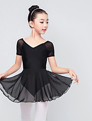 cheap -Ballet Outfits Girls' Training / Performance Elastane / Lycra Ruching Short Sleeve Skirts / Leotard / Onesie