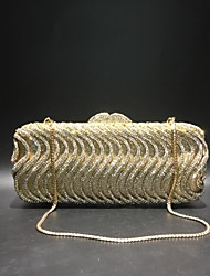 cheap -Women's Bags PU Leather / Alloy Evening Bag Crystals for Wedding / Event / Party Gold / Silver / Wedding Bags
