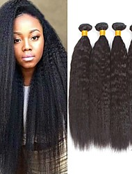 cheap -4 Bundles Yaki Straight Human Hair Unprocessed Human Hair Wig Accessories Headpiece Natural Color Hair Weaves / Hair Bulk 8-28 inch Natural Color Human Hair Weaves Newborn Fashion Wedding Human Hair