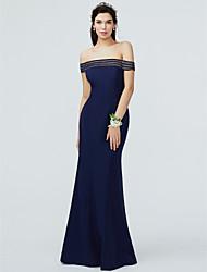 cheap -Mermaid / Trumpet Off Shoulder Floor Length Knit Bridesmaid Dress with Pleats
