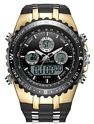 Недорогие -Муж. Спортивные часы электронные часы Японский Японский кварц силиконовый Черный 30 m Защита от влаги Календарь Фосфоресцирующий Аналого-цифровые Мода - Черный и золотой Серебро / черный