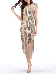 cheap -Women's Daily Elegant Slim Sheath Dress Sequins Tassel Beige L XL XXL / Sexy