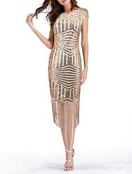 cheap -Women's Beige Dress Elegant Homecoming Cocktail Party Sheath Sequins Tassel Fringe S M Slim / Sexy