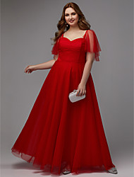 cheap -A-Line Minimalist Prom Formal Evening Dress Sweetheart Neckline Short Sleeve Floor Length Tulle with Pleats 2020