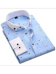 cheap -Men's Daily Cotton Slim Shirt Print Light Blue / Long Sleeve / Spring / Fall