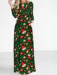 cheap -Women's Christmas Party Daily Elegant Maxi Sheath Dress - Geometric Solid Colored High Waist Black Army Green Red S M L XL / Sexy