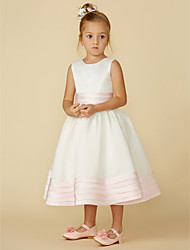 cheap -A-Line Tea Length Flower Girl Dress - Satin Sleeveless Jewel Neck with Bow(s) / Sash / Ribbon / First Communion