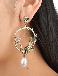 cheap -Women's Drop Earrings Hollow Out Bird Flower Ladies Vintage Elegant Imitation Pearl Earrings Jewelry Gold For Wedding Festival 1 Pair