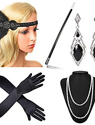 cheap -The Great Gatsby Charleston Vintage 1920s Roaring Twenties Roaring 20s Flapper Headband Women's Feather Costume Head Jewelry Pearl Necklace Black / Golden / Golden+Black Vintage Cosplay Party Prom