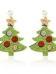 cheap -Women's Drop Earrings Vintage Style Christmas Tree Ladies Cartoon Trendy Cute Rhinestone Earrings Jewelry Gold For Christmas Party / Evening Gift Festival 1 Pair