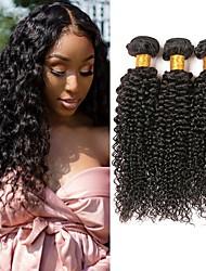 Недорогие -3 Связки Перуанские волосы Kinky Curly Натуральные волосы Необработанные натуральные волосы Человека ткет Волосы Уход за волосами Удлинитель 8-28 дюймовый Естественный цвет Ткет человеческих волос