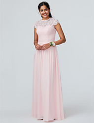 cheap -A-Line Jewel Neck Floor Length Chiffon Bridesmaid Dress with Lace / Sparkle & Shine