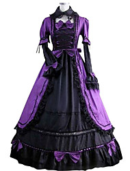 cheap -Victorian 18th Century Dress Party Costume Masquerade Women's Satin Costume Purple Vintage Cosplay Party Prom Short Sleeve Floor Length Plus Size Customized