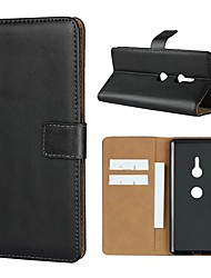 cheap -Case For Sony Sony Xperia XZ2 Premium / Sony Xperia XZ3 / Xperia XZ2 Compact Wallet / Card Holder / with Stand Full Body Cases Solid Colored Hard Genuine Leather