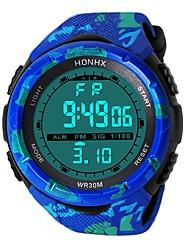 Недорогие -Муж. Спортивные часы электронные часы Японский Цифровой силиконовый Черный / Синий 30 m Защита от влаги Будильник Календарь Цифровой Мода - Черный Синий / Секундомер / Хронометр / Фосфоресцирующий