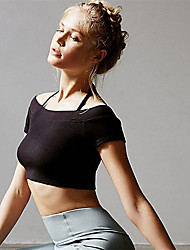 cheap -Women's Spag Off Shoulder Crop Top Solid Color Mesh Zumba Yoga Fitness Top Short Sleeve Activewear Breathable Sweat-wicking Freedom Micro-elastic Slim