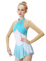 cheap -21Grams Figure Skating Dress Women's Girls' Ice Skating Dress Sky Blue Spandex Stretch Yarn High Elasticity Professional Competition Skating Wear Handmade Fashion Long Sleeve Ice Skating Winter