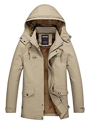cheap -Men's Daily Fall & Winter Regular Jacket, Solid Colored Hooded Long Sleeve Polyester Beige / Army Green / Khaki