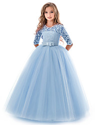 cheap -Girls Princess Dress 5-9 Years Old,Children Girls Kids Lace Bowknot Wedding Performance Formal Dress Ball Gown