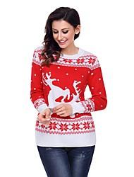 cheap -Christmas 2018 Women's Daily Street chic Animal Long Sleeve Regular Pullover Jumper, Crew Neck Fall / Winter Cotton Green / Black / Red L / XL / XXL / High Waist