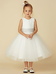 cheap -A-Line Tea Length Flower Girl Dress - Lace / Tulle Sleeveless Jewel Neck with Lace / Sash / Ribbon / First Communion