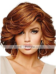 cheap -Human Hair Blend Wig Medium Length Curly Short Hairstyles 2020 Curly Side Part Machine Made Women's Natural Black #1B Medium Auburn#30 Beige Blonde / Bleached Blonde 10 inch