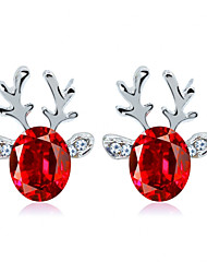 cheap -Women's Crystal Earrings Solitaire Elk Ladies Simple Fashion European Earrings Jewelry Red / Blue / White For Christmas Daily 1 Pair