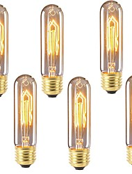 cheap -6pcs 40 W E26 / E27 T10 Warm White 2200-2700 k Retro / Dimmable / Decorative Incandescent Vintage Edison Light Bulb 220-240 V