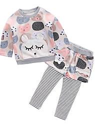 cheap -Baby Girls' Basic Daily Geometric Long Sleeve Regular Regular Clothing Set Blushing Pink / Toddler