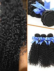 cheap -4 Bundles Curly Kinky Curly Human Hair Unprocessed Human Hair Headpiece Natural Color Hair Weaves / Hair Bulk Hair Care 8-28 inch Black Natural Color Human Hair Weaves Extender Silky Best Quality