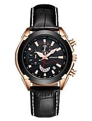 cheap -SANDA Men's Dress Watch Wrist Watch Japanese Japanese Quartz Genuine Leather Black / Brown 30 m Water Resistant / Waterproof Calendar / date / day Stopwatch Analog - Digital Classic Fashion - Black