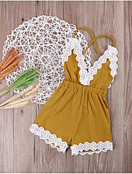cheap -Baby Girls' Basic Daily Patchwork Lace Trims Sleeveless Cotton Romper Yellow / Toddler