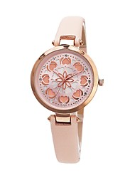 cheap -Women's Dress Watch Japanese Japanese Quartz Quilted PU Leather White / Pink / Beige 30 m Hollow Engraving Cool Analog Ladies Heart shape Fashion - White Light Blonde Pink Two Years Battery Life