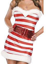 cheap -Uniforms Costume Christmas Dress Santa Clothes Adults Highschool Women's Dresses Christmas Christmas Halloween Carnival Festival / Holiday Spandex Polyester Red Carnival Costumes Stripes Sexy Lady