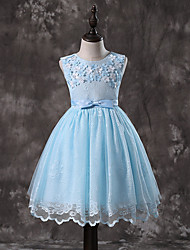 cheap -Princess Midi / Medium Length Pageant Flower Girl Dresses - Organza / Tulle / Satin Chiffon Sleeveless Jewel Neck with Lace / Solid / Tiered