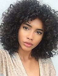 cheap -Remy Human Hair Full Lace Lace Front Wig Asymmetrical Rihanna style Brazilian Hair Afro Curly Kinky Curly Natural Black Wig 150% 180% Density Best Quality Hot Sale Cool curling Youth Women's Medium