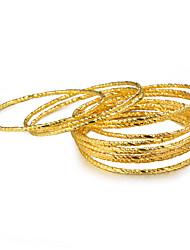 cheap -12pcs Women's Bracelet Bangles Classic Ladies Luxury Ethnic Gold Plated Bracelet Jewelry Yellow For Birthday Gift
