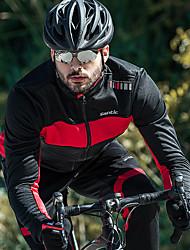 Недорогие -SANTIC Муж. Велокуртки Велоспорт Жакет / Верхняя часть С защитой от ветра, Флисовая подкладка, Сохраняет тепло Пэчворк Хлопок Зима Красный / Зеленый Продвинутый уровень Горные велосипеды / Эластичная