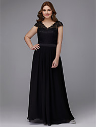 cheap -A-Line V Neck Floor Length Chiffon / Lace Elegant Prom / Formal Evening Dress with Sash / Ribbon 2020